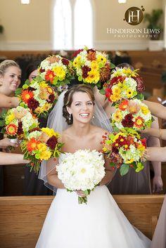 Bridesmaids and flowers wedding shot - James Island Presbyterian Church and Country Club of Charleston, James Island, South Carolina - Henderson Lewis Photography