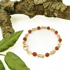 Carnelian (Karatha, Western Australia), sterling silver and gold-filled chain maille bracelet by Gemtation Jewellery Chainmaille Bracelet, Beaded Necklace, Western Australia, Carnelian, Handcrafted Jewelry, Jewelry Crafts, Natural Gemstones, Gemstone Jewelry, Jewellery