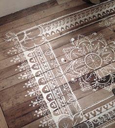 DIY painted rug on wooden floor
