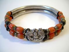 Fun Chinese export silver and coral bead bracelet with bat centerpiece.