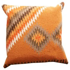 Add a pop of pattern to your loveseat or sofa with this chic linen and cotton pillow, featuring a Southwestern-inspired motif for eye-catching appeal.