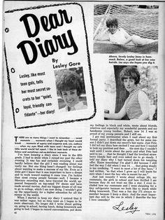 Lesley Gore - Teen Life - January 1966 - p46 Lesley Gore, Teen Life, Dear Diary, Vintage Magazines, In My Feelings, Rainbows, The Beatles, January, Sunshine