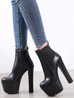 Thick Heel Boots, Thick Heels, Chunky Heels, Heeled Boots, Boot Heels, Platform High Heels, Platform Boots, Black Leather Boots, Black Ankle Boots
