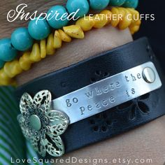 Go where the peace is...   peace leather cuff bracelet Inspired leather by LoveSquaredDesigns, $40.00  Inspired by Melody Ross and Brave Girls Club