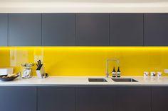 Kitchen Lighting Ideas Yellow splashback, grey kitchen cupboards in a Victorian terrace house renovation in vibrant East London Grey Kitchen Cupboards, Grey Kitchens, Kitchen Tiles, Kitchen Colors, Home Kitchens, Kitchen Yellow, Yellow Cupboards, Kitchen Grey, Kitchen Splashback Ideas