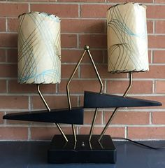 Vintage Majestic Lamp Fiberglass Shades Mid Century Modern Retro 50s Atomic Era #Vintage