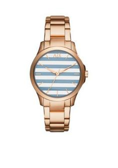 Armani Exchange AX  Three-Hand Rose Gold-Tone Stainless Steel Watch -