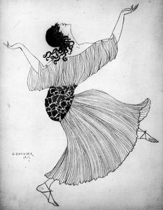 Isadora Duncan, illustrated by Georges Barbier, in a dress resembling the Fortuny Delphos she often wore, 1917.