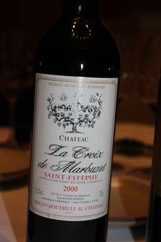 2000 La Croix du Marbuzet, St Estephe, Bordeaux; a brilliantly executed example of varietals (Merlot/Cab-Sauv) and regionality~ Stunning@! via Sandra Angelozzi