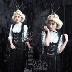 Women White Lace Half Sleeve Victorian Gothic Fashion Dress Shirts SKU-11407309