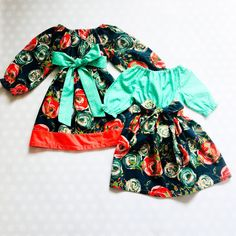 Sister Dresses for Easter - Navy and Coral Floral Spring Dresses for Girls Girls Spring Dresses, Girls Easter Dresses, Navy Floral Dress, Holiday Dresses, Dress Skirt, Girl Outfits, Sibling, Future Baby, Trending Outfits