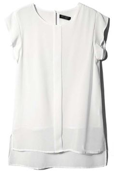 White Ruffles Short Sleeve Dipped Hem Chiffon Blouse