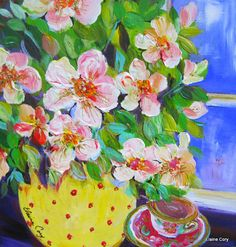 A Cup of Tea  is an original painting done by me Elaine Cory. It is on a deep canvas 12 x 12 x 1 1/2. The sides are painted like the front. It