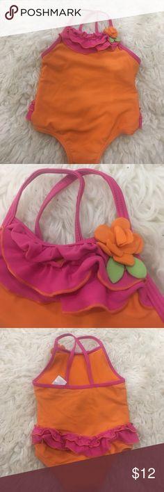 Absorba 18 month orange and pink swim suit Very nice quality swim suit with ruffles Absorba Swim One Piece