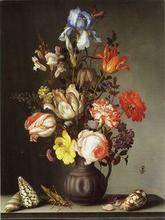 balthasar van der ast | flowers in a vase with shells and insects | 1630 | national gallery london exhibit