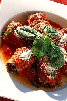 Aubergine rolls, Il Tramonto restaurant, Ponza island, Lazio, Italy