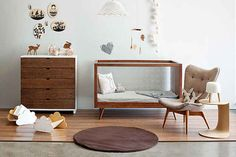 Mid century modern gender neutral nursery (favourite Featherstone armchair!)