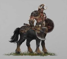 Centaur by He Xiaosong Fantasy Warrior, Fantasy Races, Fantasy Rpg, Medieval Fantasy, Fantasy Artwork, Dungeons And Dragons Characters, Fantasy Characters, Fantasy Creatures, Mythical Creatures