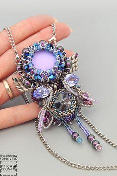 """Купить Кулон """"Полярный цветок"""" - серебряный, полярный, кулон цветок, необычный кулон, кулон из бисера"""