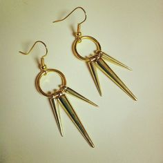 Gold Spike Earrings Christmas Gift long gold by McIntoshJewelry, $11.00