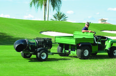 Turfco has a new debris blower and tow-behind overseeder.