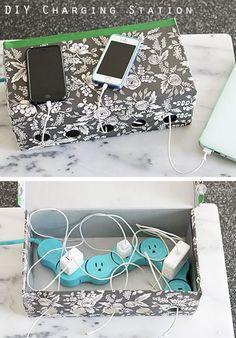 Make a DIY charging station using a shoebox.