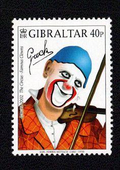 Gibraltar postage stamp from 2002 depicting Grock (Dr Karl Shuker)