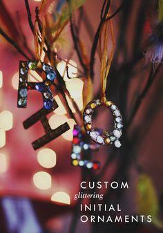 DIY Custom Glittering Initial Ornaments