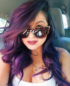 Purple ombre Hair !! Pravana Chrom Vivids in violet <3 This was after my first wash... it faded into a magical purple/ pink/ magenta shade!  love mermaid hair ! Follow me for my makeup and hair looks @curiouschristina1