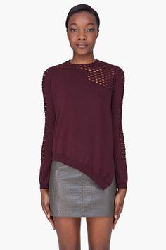 Alexander Wang Burgundy Wool Fishnet Trim Sweater for women | SSENSE