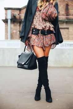 Balmain blazer, Vintage dress, Goddess of Babylon belt, Celine Handbag, Rayban sunglasses & Stuart Weitzman boots.