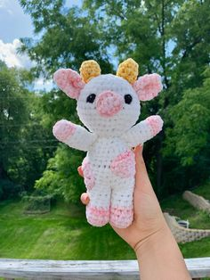 adorable strawberry cow crocheted with baby velvet yarn Crochet Cow, Cute Crochet, Easy Crochet, Crochet Toys Patterns, Stuffed Toys Patterns, Crochet Designs, Dinosaur Wallpaper, Happy Stickers, Pink Cow