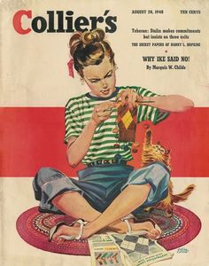 Girl Knitting |  Collier's Magazine, August 28, 1948 | cover cat by Wilson Cutler