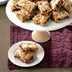 Cranberry Date Bars Recipe -I first discovered this recipe at Christmas a couple years ago, but it's a great way to use frozen cranberries throughout the year. I help out at the elementary school our three sons attend and am active at our church. It seems I'm always baking a batch of these moist bars for some event. -Bonnie Nieter, Warsaw, Indiana