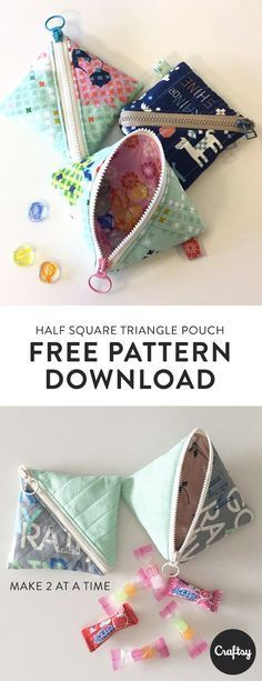 The Half Square Triangle Pouch is a flat square-shaped quilted pouch with a zipper running diagonally across the front. This pouch is a great weekend sewing project for an intermediate. Get the free pattern at Craftsy. #craftstosell