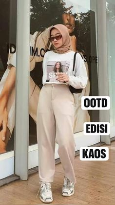 Casual Hijab Outfit, Ootd Hijab, Casual Outfits, Korean Outfit Street Styles, Korean Outfits, Girls Fashion Clothes, Fashion Outfits, Clothes For Women, Bad Girl Outfits