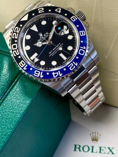Save the world with the Rolex GMT-Master II 'Batman' The first steel watch with two color ceramic bezel from Rolex. Luxury Watches, Rolex Watches, Watches For Men, Dream Watches, Laptop Bag For Women, Personalized Gifts For Her, Laptop Tote, Rolex Gmt Master, Expensive Watches