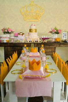 Pink Princess Birthday Party table! See more party ideas at CatchMyParty.com!