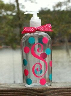 monogram with vinyl. Empty bottles from the dollar store?