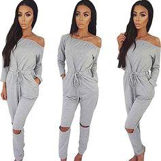 3e106fe444e Amazon.com  Longwu Women s Fashion Off-Shoulder Drawstring Jumpsuits Rompers  Knee Hole Pants