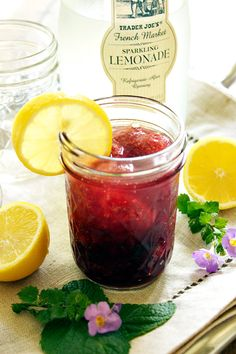 Lemon Blueberry Moonshine Slush - A perfect cocktail for a tailgate party! Make in advance in mason jars and just add the sparkling lemonade when ready to serve!