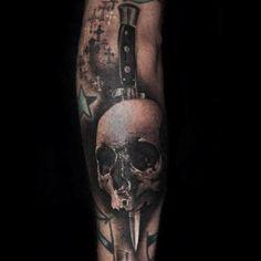 Skull+dagger=RAD.  [tattoo by @thekatvond on the talented @KevinLlewellyn]