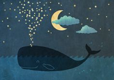 Star-maker, whale illustration by Terry Fan this would be cute In a little kids room