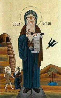 Abba Anthony the Great Byzantine Icons, Byzantine Art, Religious Icons, Religious Art, Anthony The Great, Saint Antony, Church Icon, Anta, Art Icon