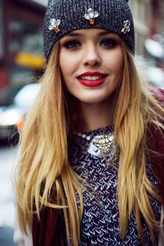 Cute combo, beanie and sweater. Chic style ideas for this winter 2016....very cute!  It's winter, it's cold, dress warm, look cute!