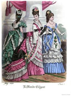 Le Monde Elégant 1875 July 1870s Fashion, Victorian Fashion, Vintage Fashion, Fashion History, World Of Fashion, The Paradise Bbc, Edwardian Gowns, Jean Délavé, Victorian Costume