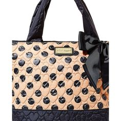 Betsey Johnson Tie The Knot Tote ($53) ❤ liked on Polyvore featuring bags, handbags, tote bags, polka dot purse, betsey johnson, tie purse, zip top tote bag and betsey johnson purses