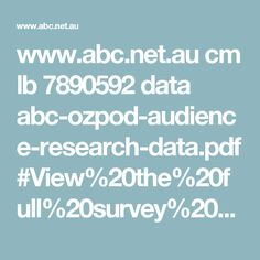 www.abc.net.au cm lb 7890592 data abc-ozpod-audience-research-data.pdf#View%20the%20full%20survey%20results%20and%20research Outlaw Racing, Research, Landscape, Exploring