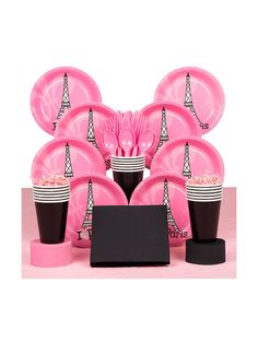 Paris Party Deluxe Kit (Serves 8) - Centerpieces and Individual Party Supplies