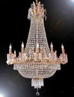 French Empire Crystal Chandelier With 15 Lights H40 x W30, Gold